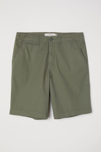 Katoenen short - Kakigroen - HEREN | H&M BE