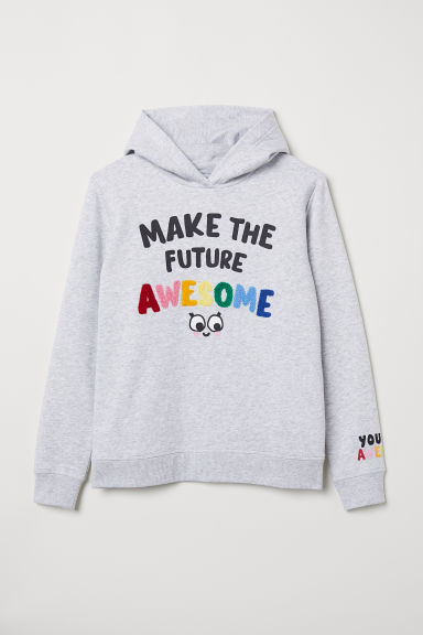 Hooded top - Light grey marl - Kids | H&M