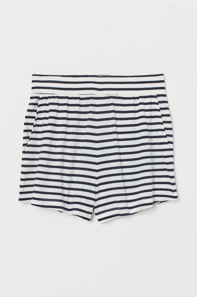 11bab30990 Modal-blend Shorts - Dark blue/white striped - Ladies | H&M ...