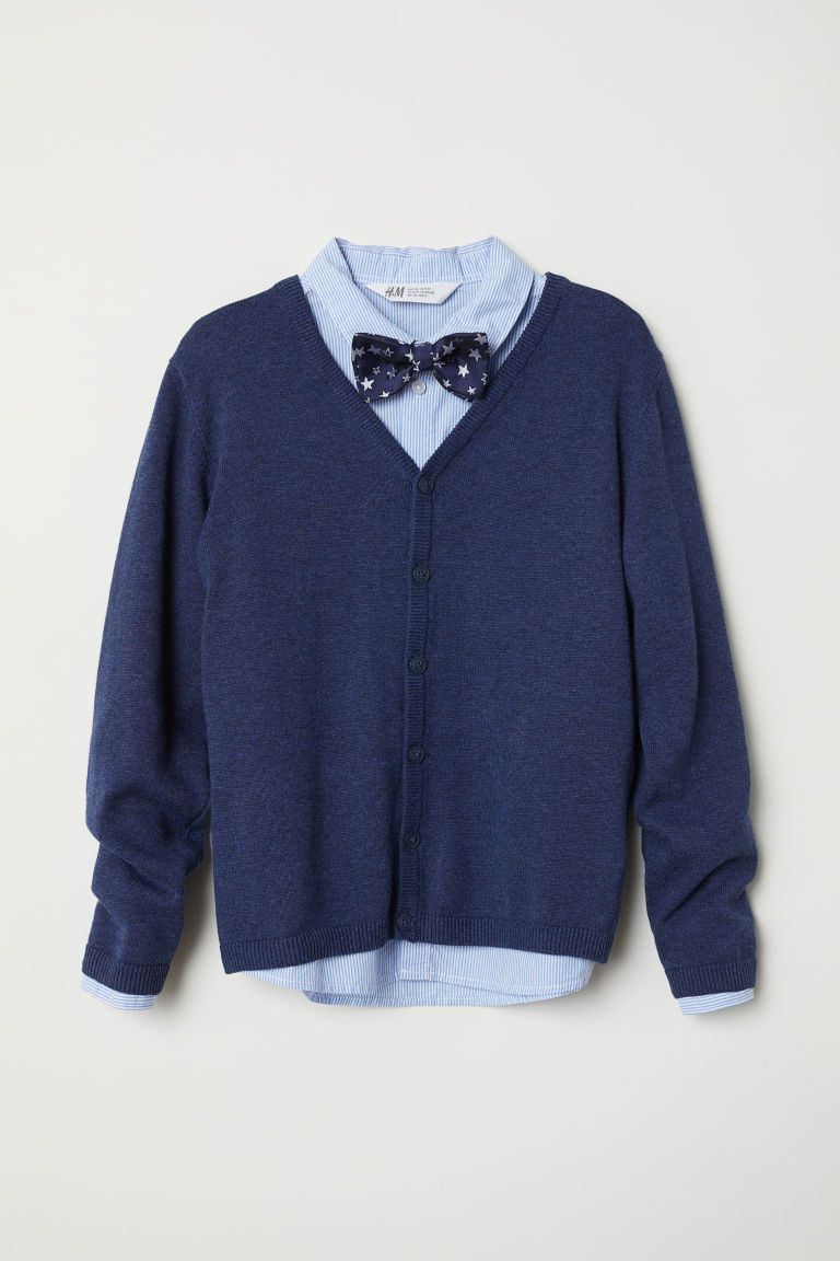 Cardigan, shirt and bow tie - Dark blue/Striped - Kids | H&M
