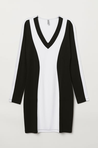 V-neck jersey dress - White/Black -  | H&M