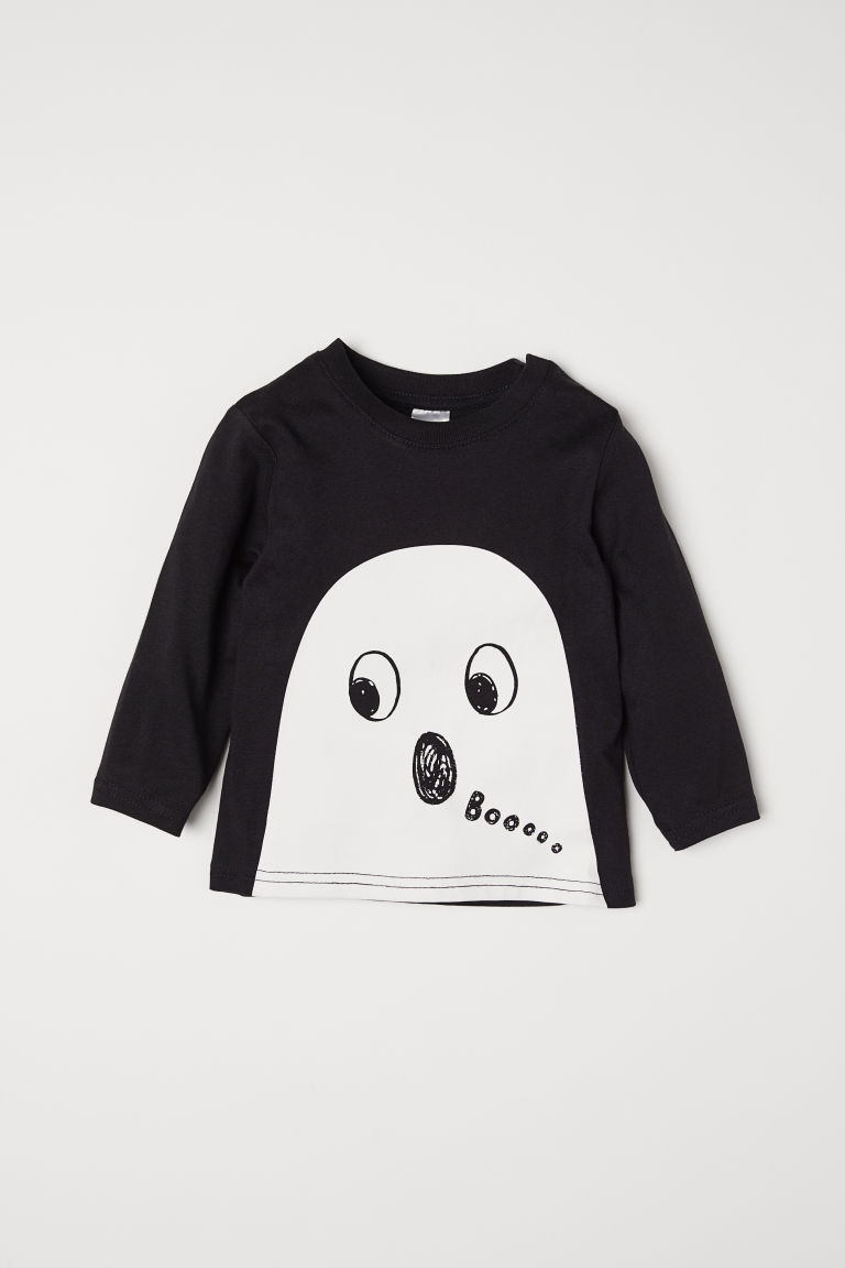 Top with Printed Design - Black/ghost - Kids | H&M US