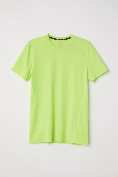 Short-sleeved sports top - Lime green - Men | H&M
