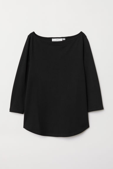 Boat-neck top - Black - Ladies | H&M CN