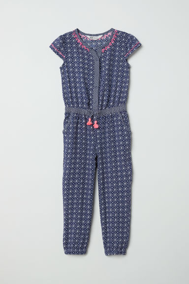 Patterned jumpsuit - Dark blue/White patterned - Kids | H&M CN