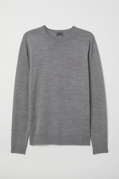 Merino wool jumper - Grey marl - Men | H&M