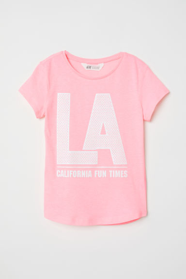 Printed jersey top - Pink/LA - Kids | H&M