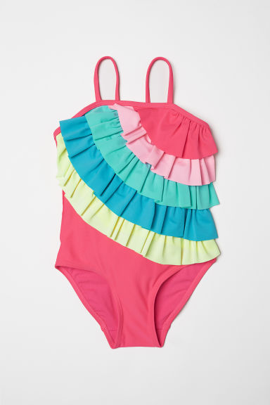 Swimsuit with frills - Neon pink -  | H&M CN