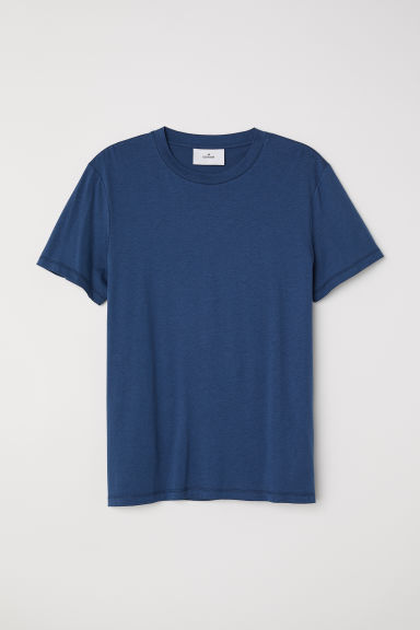 Cotton and silk T-shirt - Blue - Men | H&M CN