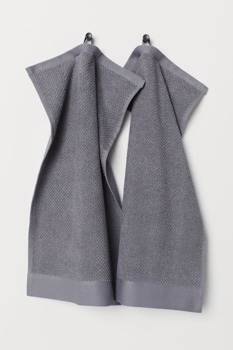 2-pack cotton guest towels - Grey - Home All | H&M CN