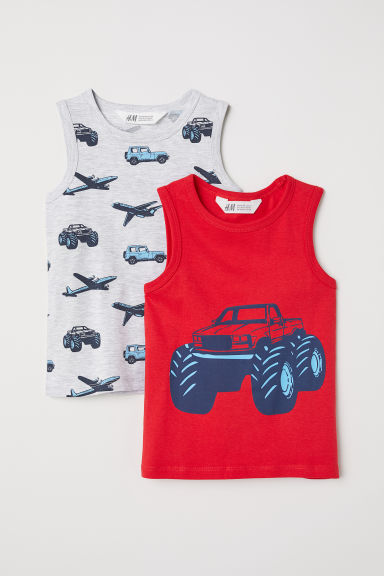 2-pack vest tops - Light grey/Red - Kids | H&M