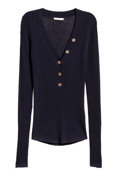 Ribbed jumper - Navy blue - Ladies | H&M CN