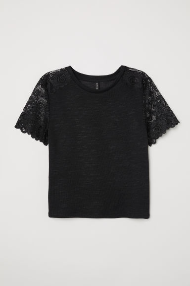 Fine-knit top with lace - Black -  | H&M
