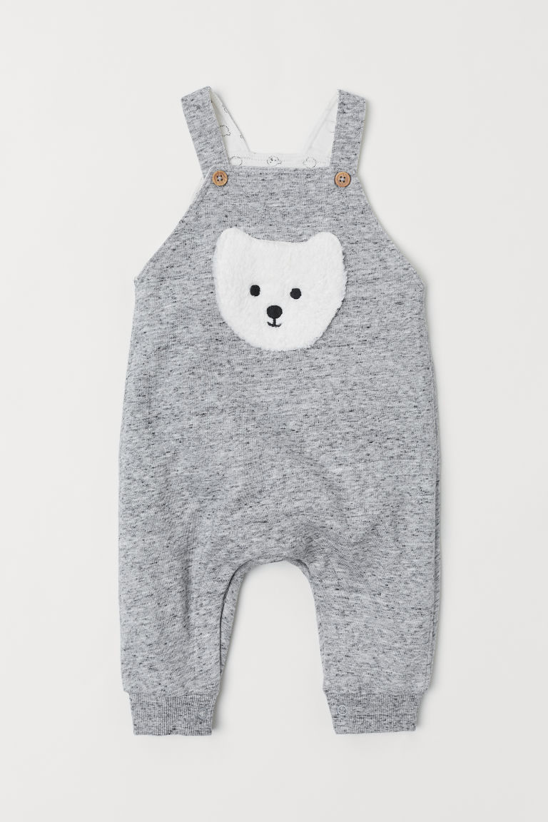 Dungarees with a motif - Grey marl - Kids | H&M