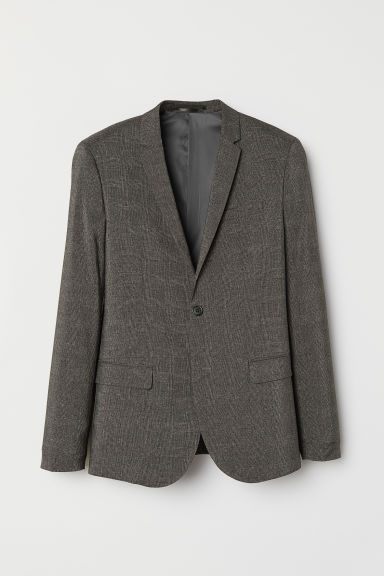 Jacket Skinny Fit - Dark grey/Checked - Men | H&M