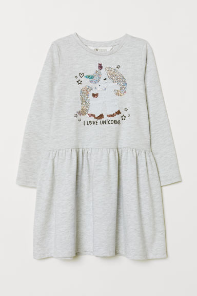 Dress with sequins - Light grey marl/Unicorn - Kids | H&M GB