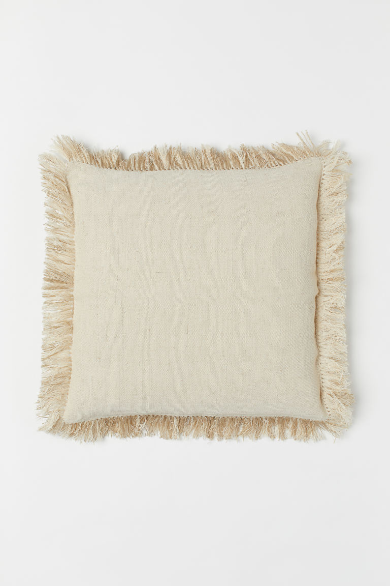 Cushion Cover with Fringe - Light beige - Home All | H&M US