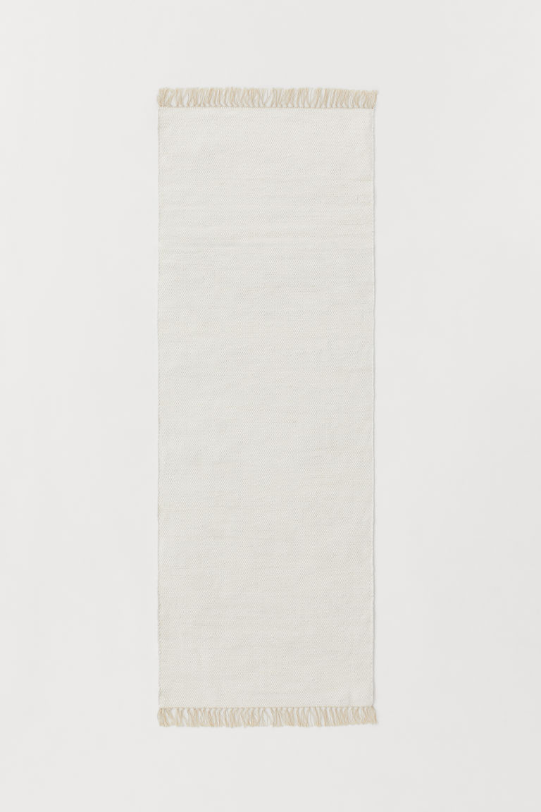 Handwoven cotton rug - White/Light beige - Home All | H&M CN