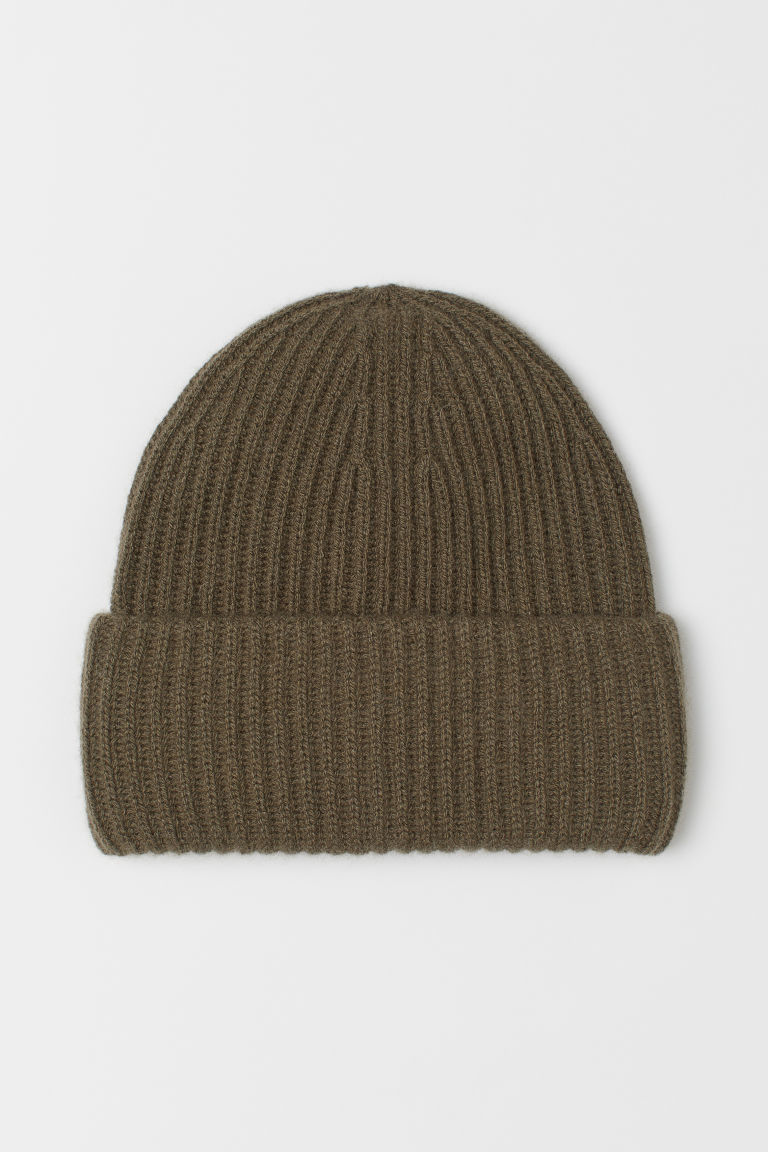 Ribbed cashmere hat - Khaki green - Ladies | H&M