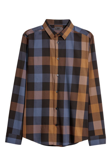 Checked shirt Slim fit - Brown/Checked - Men | H&M CN
