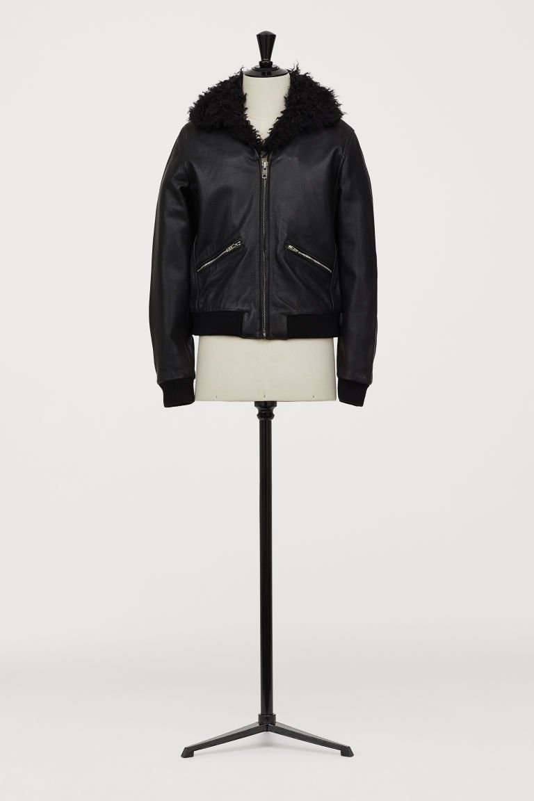 Leather jacket - Black - Men | H&M GB