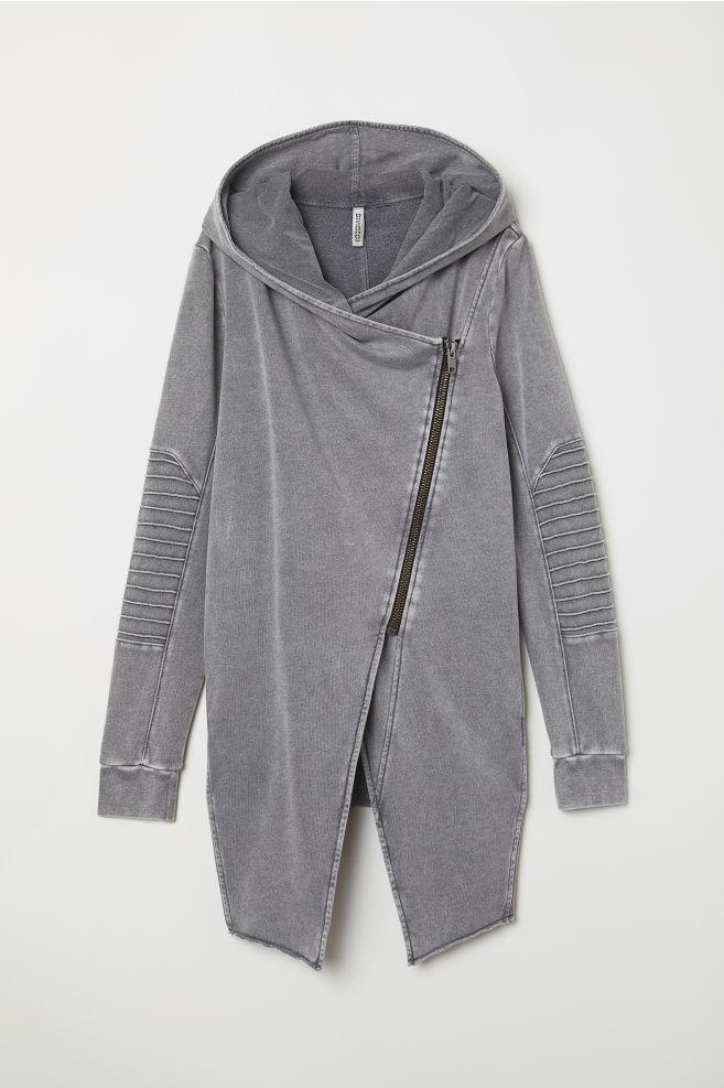d595a579aa ... Hooded Sweatshirt Cardigan - Gray - Ladies
