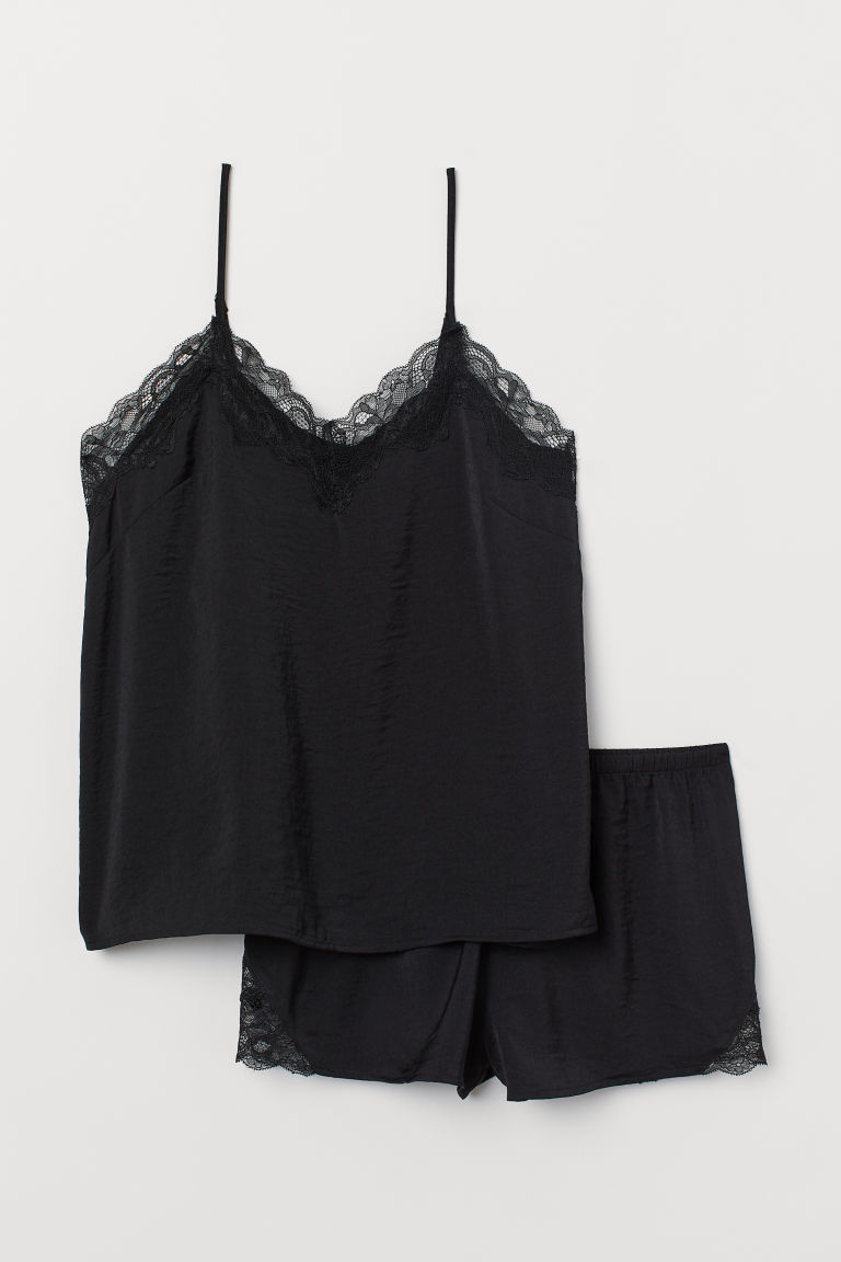 Pyjama strappy top and shorts - Black - Ladies | H&M