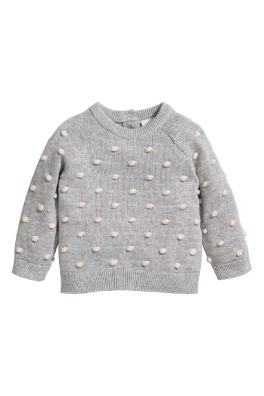 Fine-knit patterned jumper - Light grey -  | H&M
