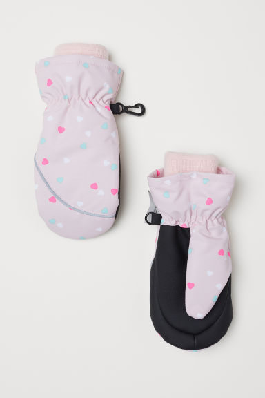 Ski mittens - Light pink/Hearts - Kids | H&M CN