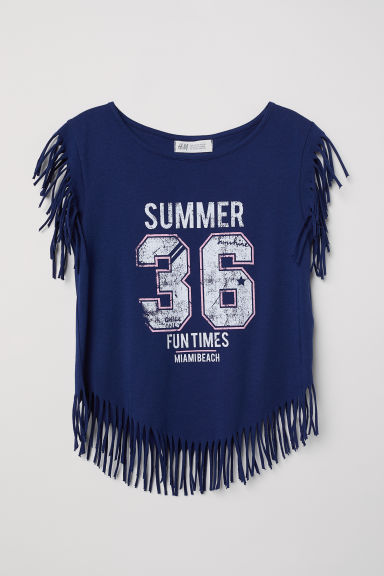 Top with fringing - Dark blue/36 - Kids | H&M