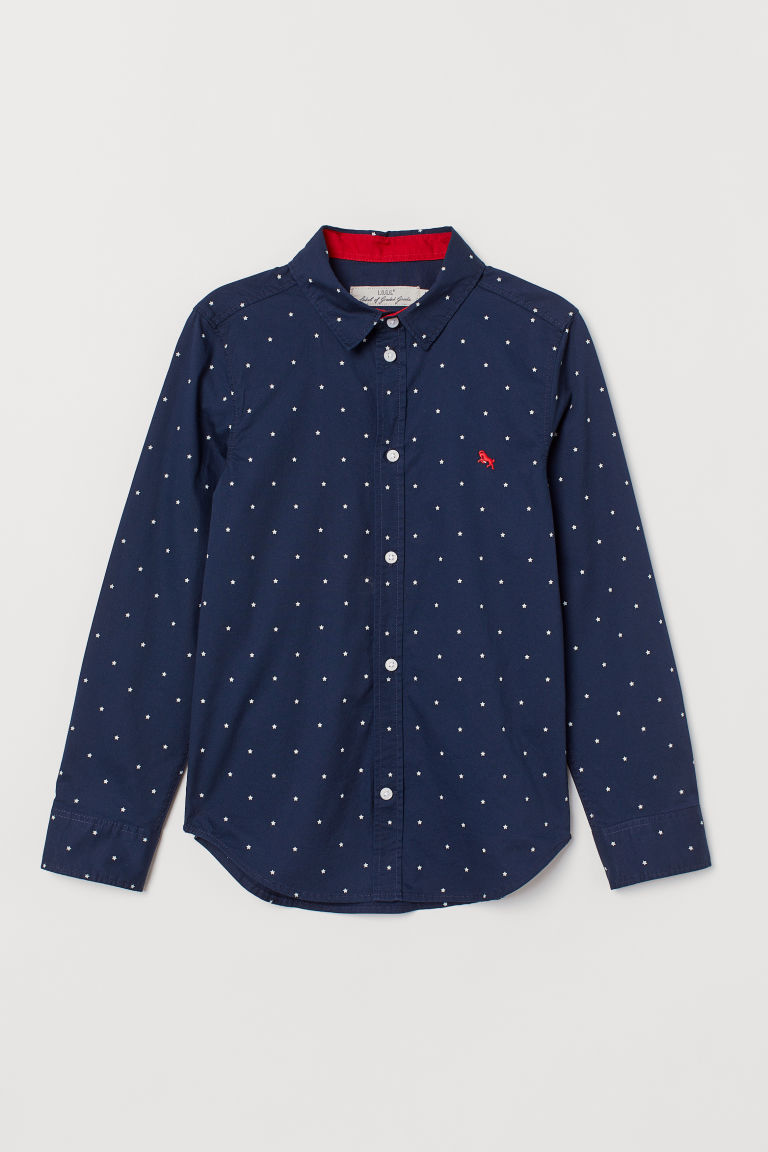 Cotton shirt - Dark blue/Stars - Kids | H&M