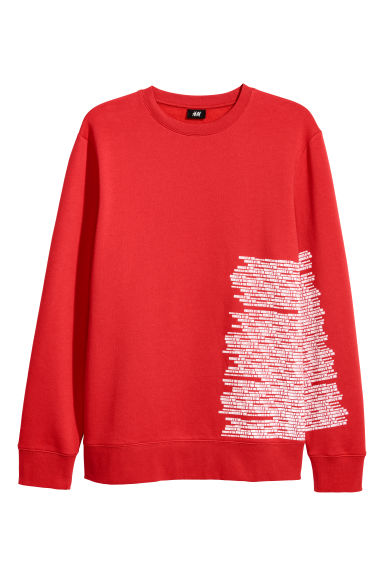 Printed sweatshirt - Red - Men | H&M CN