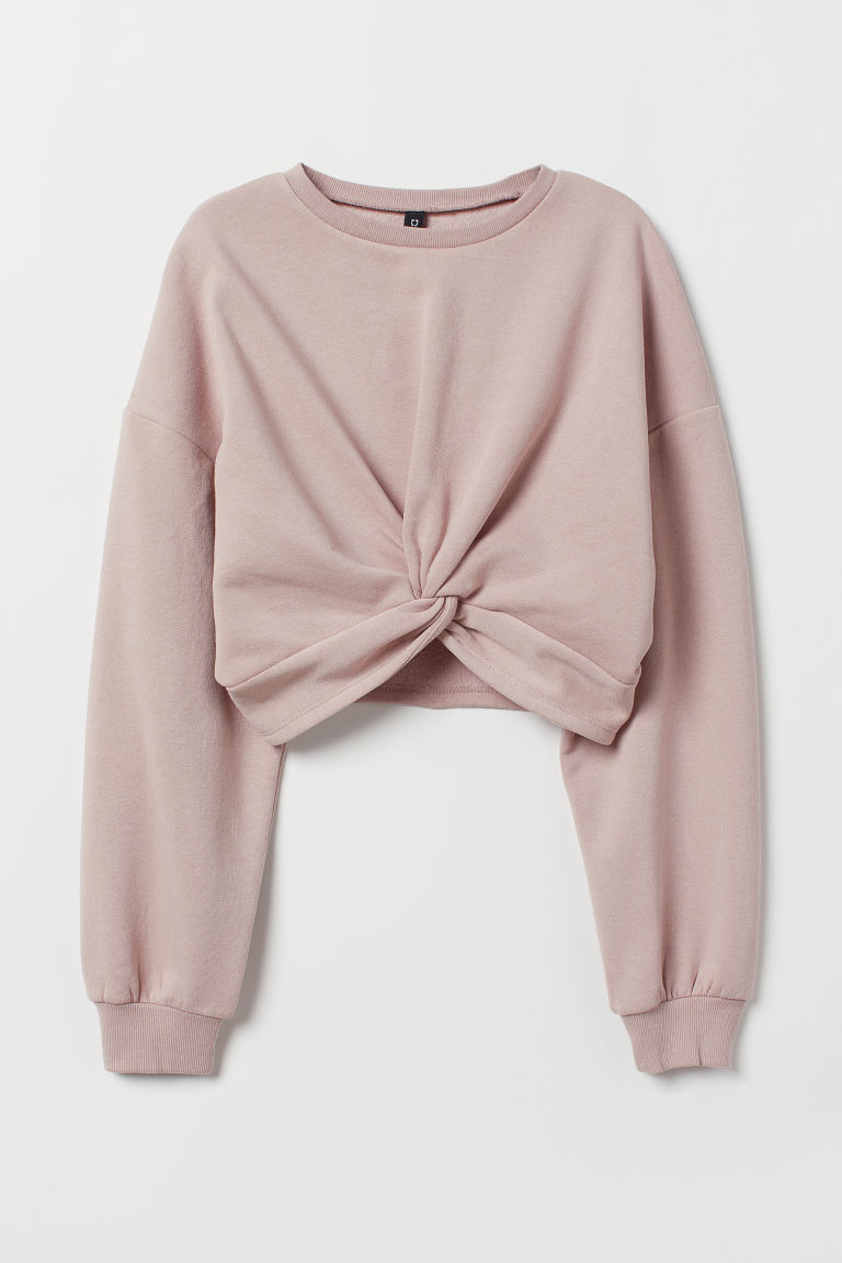 Tie-detail top - Powder pink -  | H&M CN