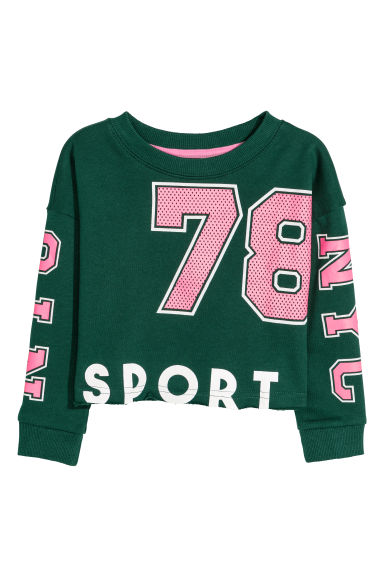 Printed sweatshirt - Dark green/NYC - Kids | H&M GB