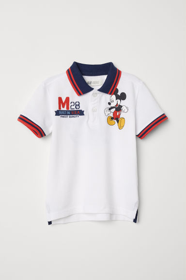 Printed polo shirt - White/Mickey Mouse - Kids | H&M
