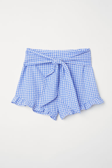 Shorts with ties - Blue/White checked - Ladies | H&M