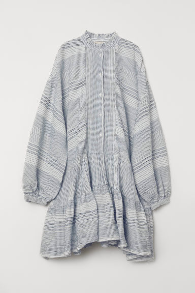 Wide flounced tunic - White/Blue patterned - Ladies | H&M GB