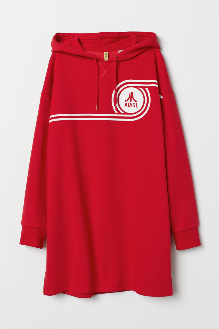 Long hooded top - Red/Atari -  | H&M