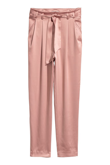 Satin trousers - Old rose - Ladies | H&M CN