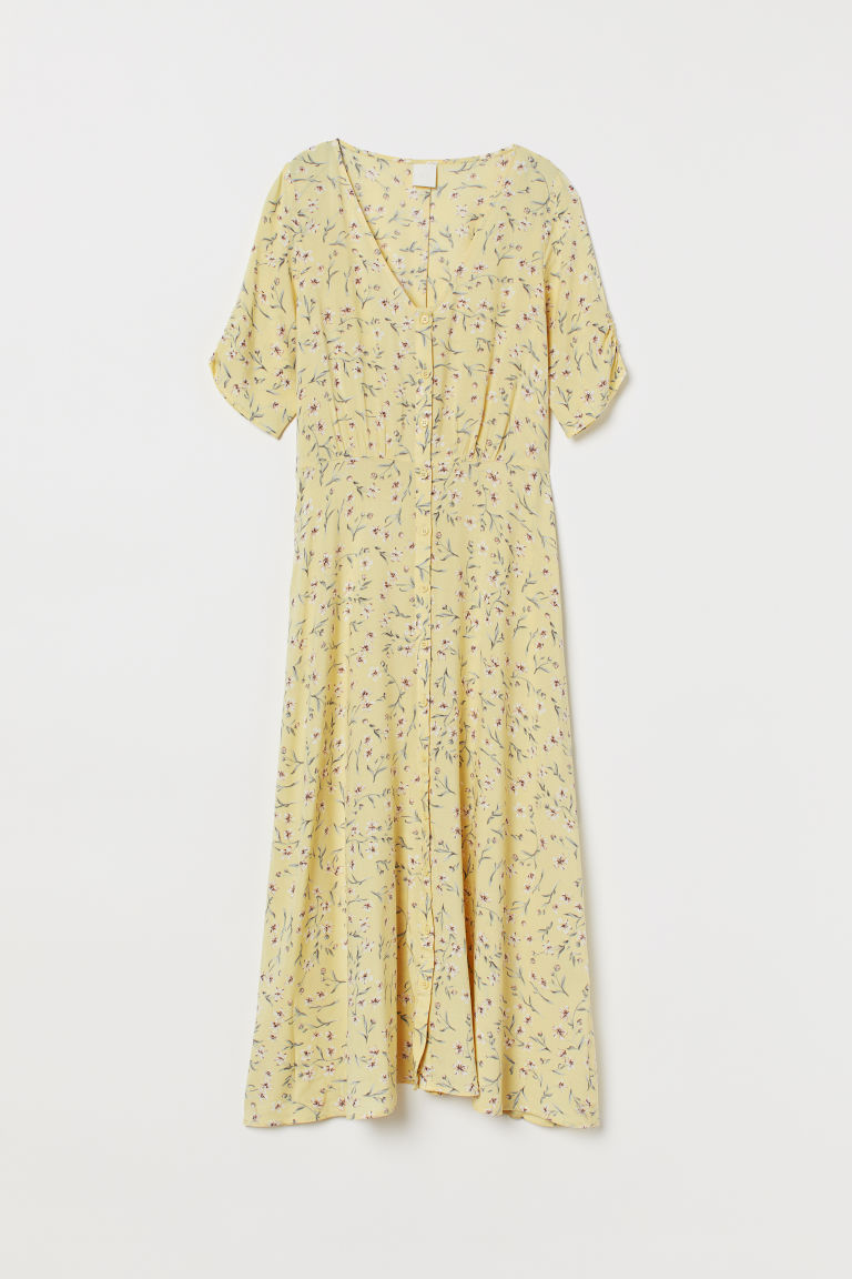 Calf-length dress - Light yellow/Floral - Ladies | H&M GB