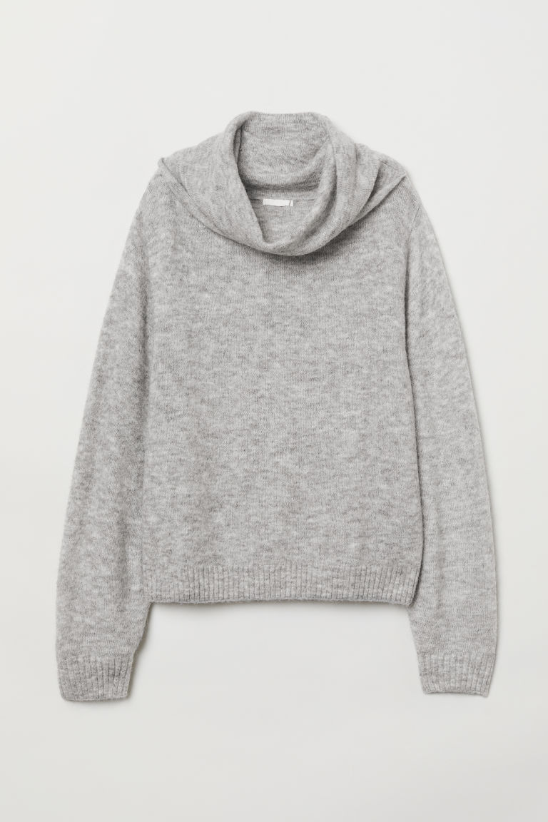 Knitted polo-neck jumper - Light grey marl - Ladies | H&M CN