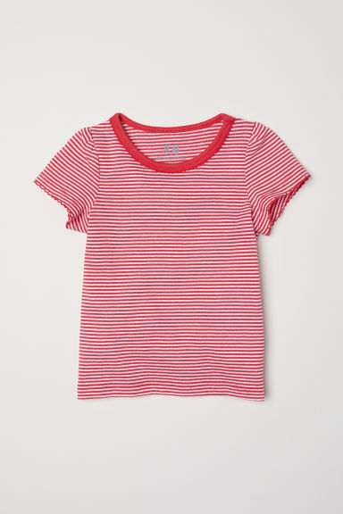 Puff-sleeved jersey top - Red/White striped - Kids | H&M CN