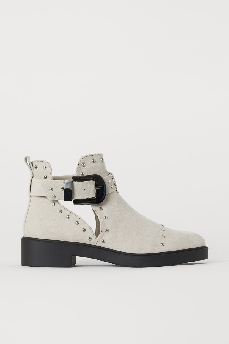 Ankle Boots with Studs - Light gray - Ladies | H&M CA