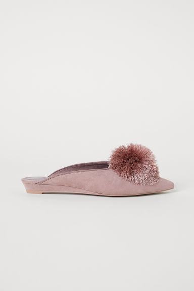 Mules with pompoms - Powder pink - Ladies | H&M CN