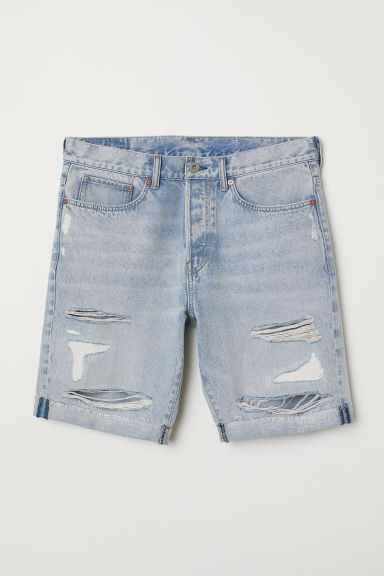 Straight Fit Denim shorts - Light denim blue/Trashed -  | H&M