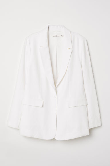 Linen-blend Jacket - White - Ladies | H&M CA