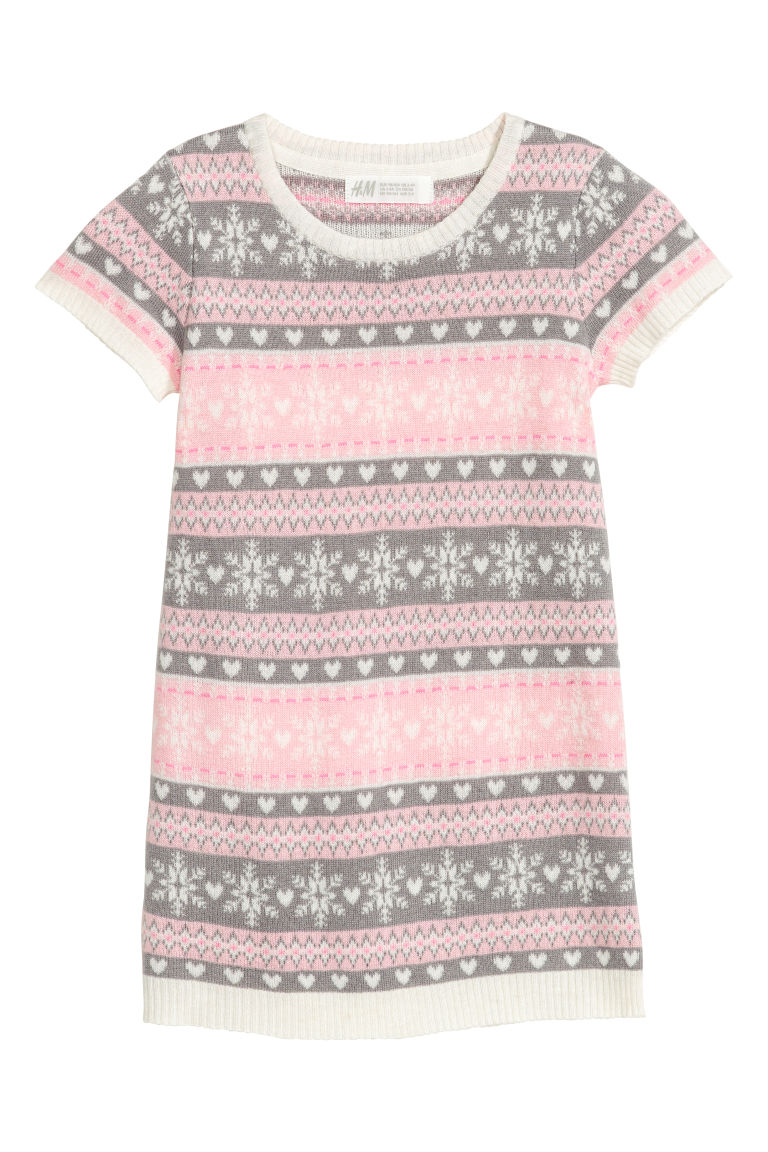 Jacquard-knit dress - Pink/Grey - Kids | H&M CN