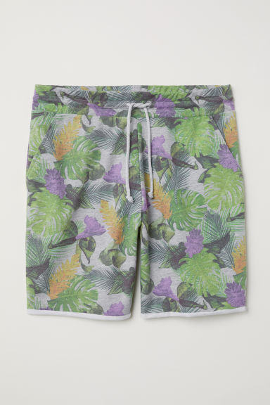 Patterned sweatshirt shorts - Grey marl/Floral - Men | H&M