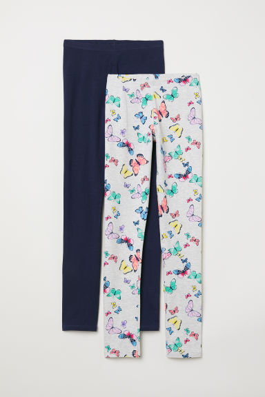 2-pack leggings - Light grey/Butterflies - Kids | H&M