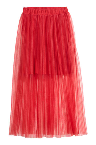 Pleated tulle skirt - Red -  | H&M